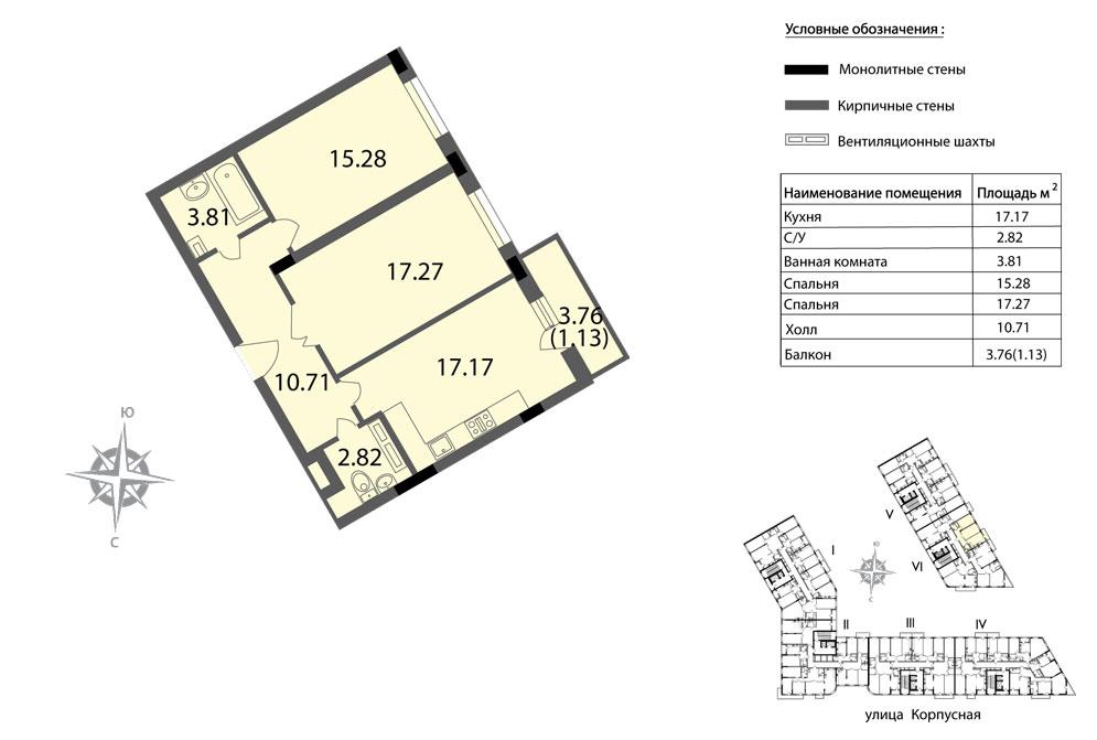 Планировка Двухкомнатная квартира площадью 68.19 кв.м в ЖК «Мендельсон»