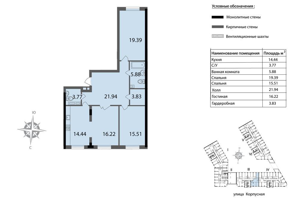 Планировка Трёхкомнатная квартира площадью 100.98 кв.м в ЖК «Мендельсон»