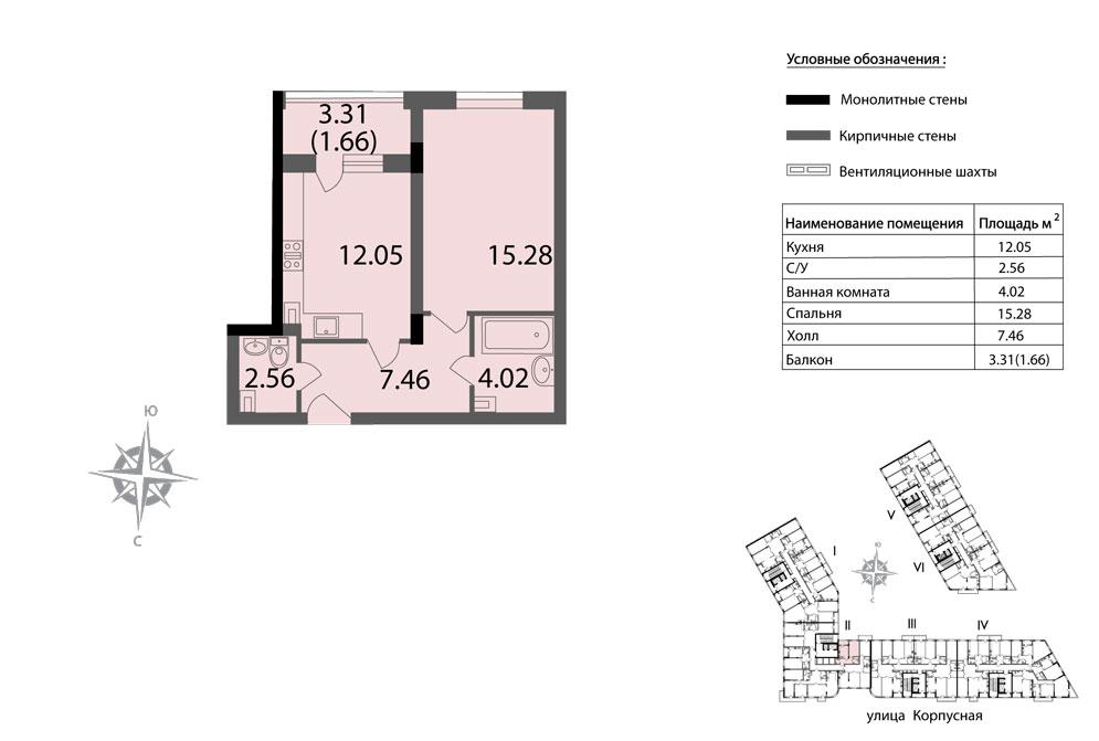 Планировка Однокомнатная квартира площадью 43.03 кв.м в ЖК «Мендельсон»