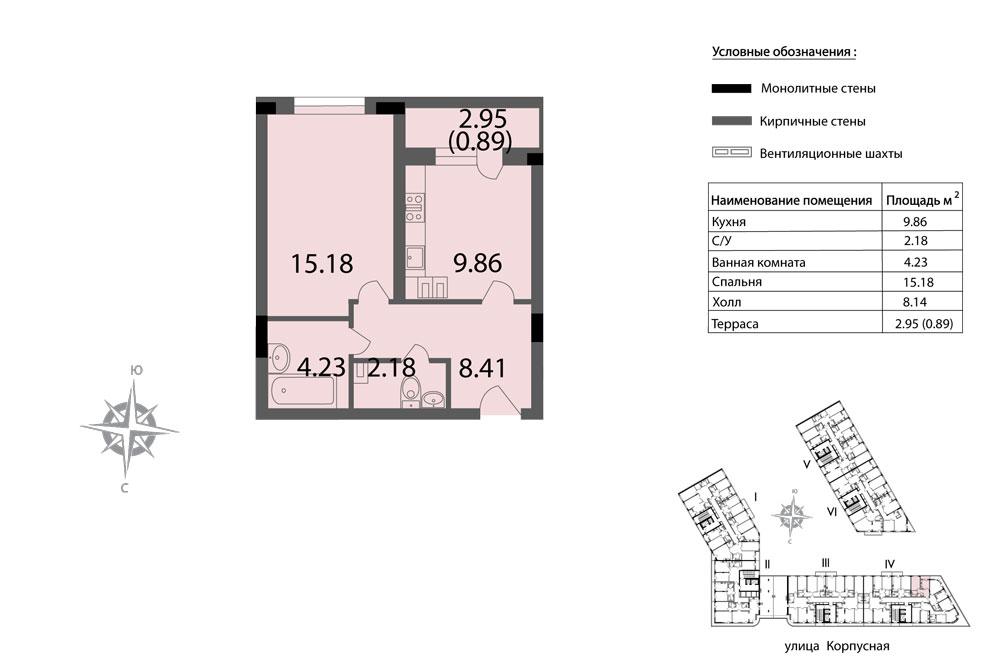 Планировка Однокомнатная квартира площадью 40.75 кв.м в ЖК «Мендельсон»