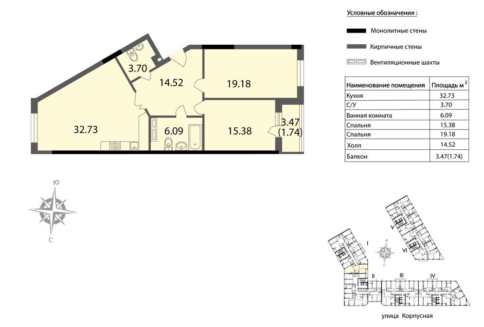 Планировка Двухкомнатная квартира площадью 93.34 кв.м в ЖК «Мендельсон»